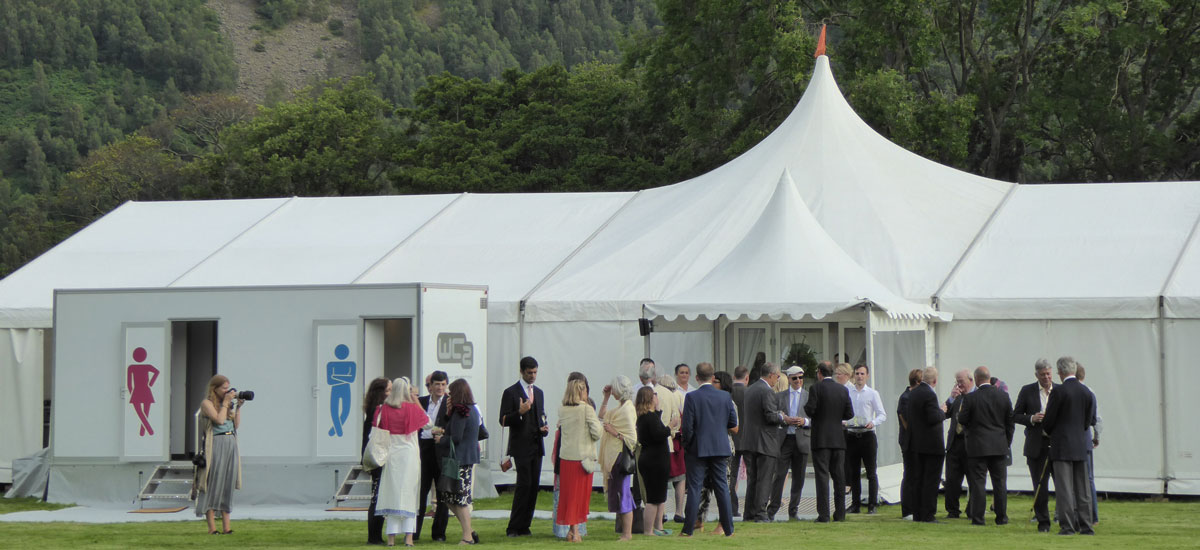 WC2 loo trailer at an Ullswater wedding
